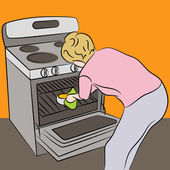 Woman Using Oven — Stock Vector