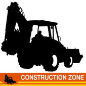 Backhoe Loader Construction Vehicle — Stock Vector