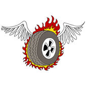 Winged Tire — Stock Vector