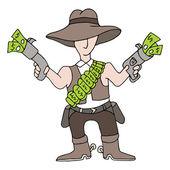 Cowboy contant geld — Stockvector