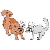 Lucha contra los gatos — Vector de stock
