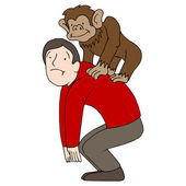 Monkey on Back — Stock Vector