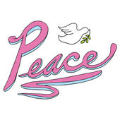 Peace Text with Dove — Vecteur