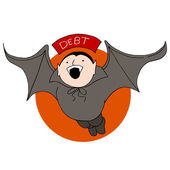 Debt Vampire Bat — Stock Vector