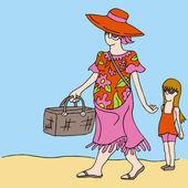 Anne ve kızı üzerinde piknik — Stok Vektör