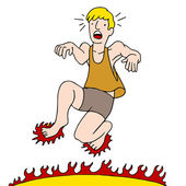 Man Burning Feet on Hot Surface — Stockvector