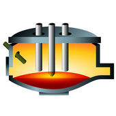 3d Arc Furnace Steel Icon — Stock Vector