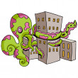 Giant Octopus Attacks City — Stock Vector #49283945