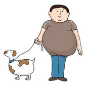 Overweight Man and Dog — Stock Vector