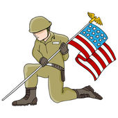 Soldier Holding American Flag — Stock Vector