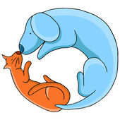 Cat and Dog in Cirlce — Vector de stock