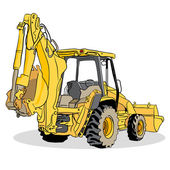 Backhoe Loader Vehicle — Stock Vector