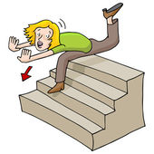 Woman Falling Down Stairs — Stock Vector