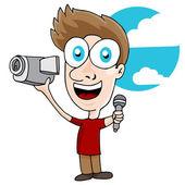Videographer Man — Stock Vector