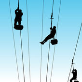 People On Zip Line — Stock Vector