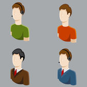 Business Male Profile Icons — Vector de stock