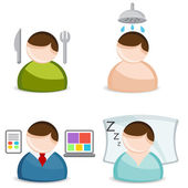 Life Activity Icon Set — Stock Vector