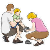 Child Getting Help With Shoes — Stock Vector