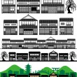Stock Vector: Japanese traditional houses