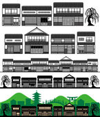 Japanese traditional houses — Stock Vector