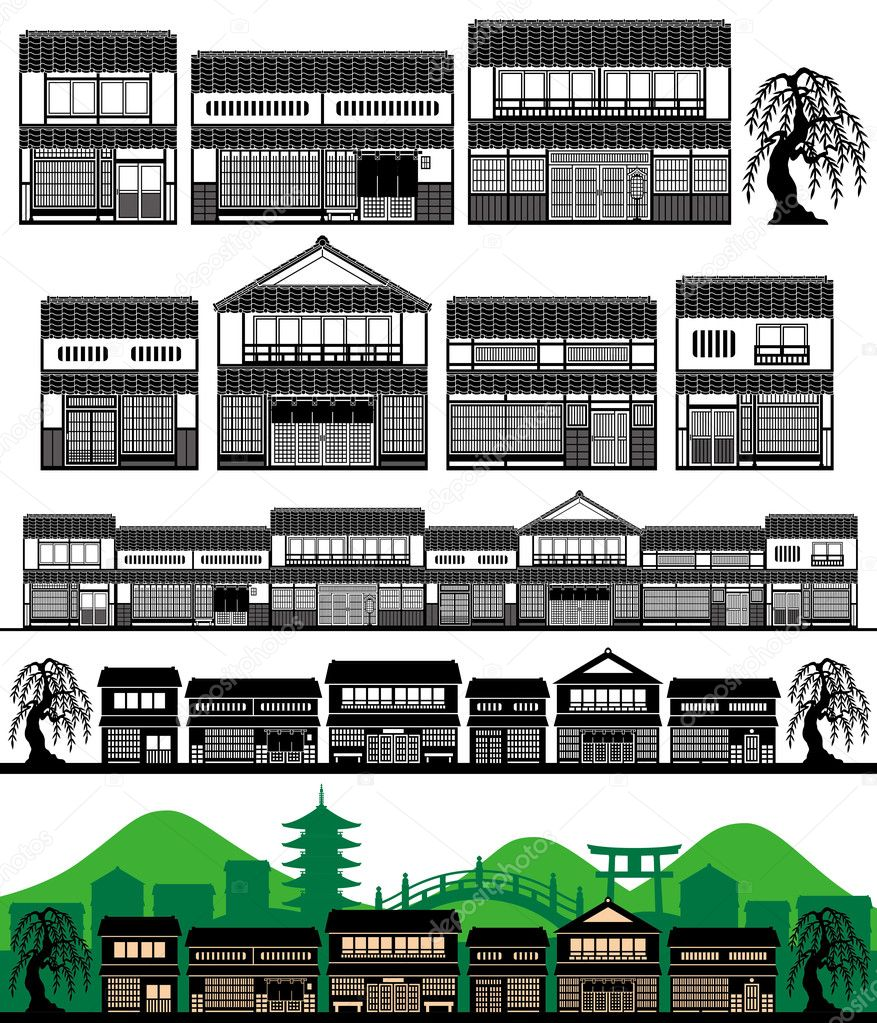 Japanese Traditional Houses Traditional Houses Vector