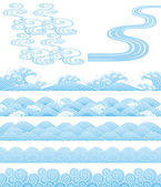 日本の伝統的な波 — ストックベクタ