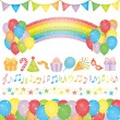 Set of birthday party elements. - Stok Vektör