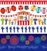 Japanese summer festival. — Stock Vector