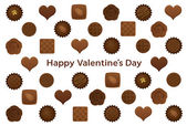 Valentine's Day postcard with various chocolates. — Stock Vector