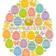 Easter egg shape with Easter eggs, bunnies and chicks. — Stock Vector