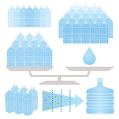 Rows of water bottles. — 图库矢量图片