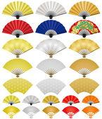 Japonské skládání ventilátory. — Stock vektor