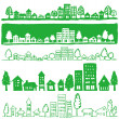 Eco town. handwritten illustrations. — Stock Vector