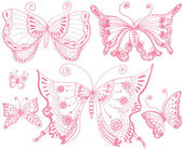 Mariposa encaje — Vector de stock