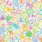 Hand-drawn vegetables background. — Stockvektor
