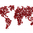 World map made of 3d hearts — Stock Photo