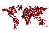 Mapa světa z 3d srdce — Stock fotografie