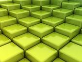 Abstract green metallic cubes — Stock Photo