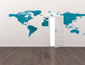 World map on wall with open door — Foto de Stock