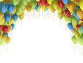 Colorful birthday party balloons isolated on white background — Stock Photo