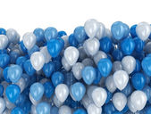Blue and white balloons on white background — Stock Photo