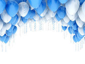 Blue and white balloons — Stock Photo