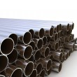 Steel pipes industrial background — 图库照片