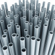 Metal tubes on white background — Stock Photo
