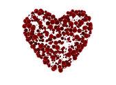 Símbolo del corazón en forma de muchas esferas pequeñas de terciopelo — Foto de Stock