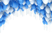 Blue balloons party background — Stock Photo