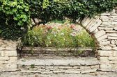 Stone Wall With Greenery — 图库照片