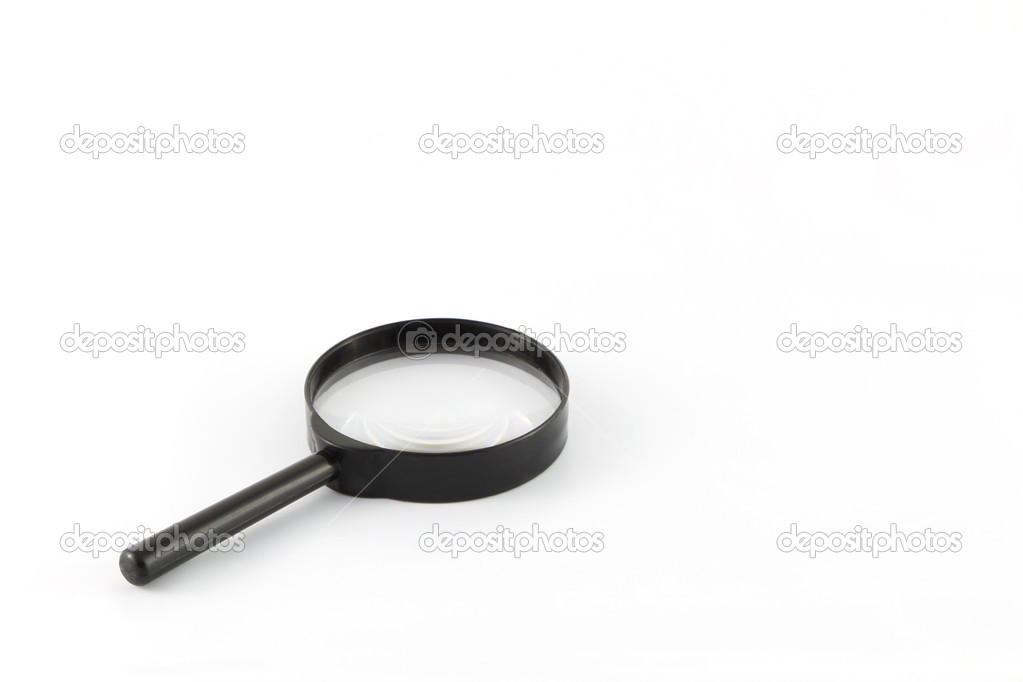 Black frame magnifying glass on white background. — Stock Photo #13400876