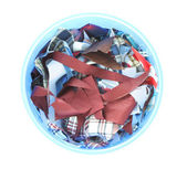 Waste multiple fabric in blue trash can. — Stock Photo