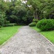 Garden path walk in public park to forest. - Stock Photo